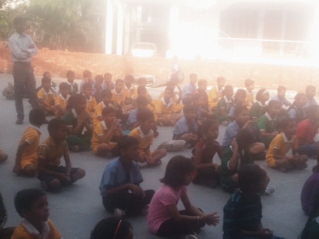 children participating in awareness program on sanitation and hygiene conducted on 18 april 2015 by shitika and bhupendra