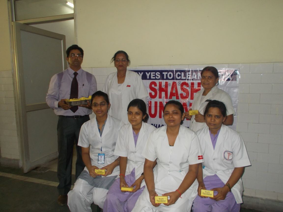 SOAPS WERE DISTRIBUTED TO THE PATIENTS AND STAFF OF BALRAMPUR HOSPITAL BY SHITIKA & BHUPENDRA ON HAND WASH DAY (5TH MAY 2015)
