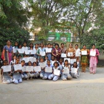 STUDENTS & TEACHERS BEING AWARDED FOR THEIR ACTIVE PARTICIPATION & SUPPORT IN THE AWARENESS PROGRAM ON SANITATION & HYGIENE (SEPTEMBER 2015 MORADABAD (U.P.))